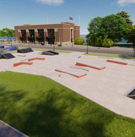 Betonowy skatepark w Łobzie