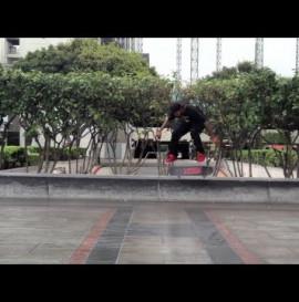 Felix & Friends Manny Santiago skateboarding Jkwon on a rainy day