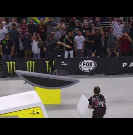 Luan Oliveira knocks off Nyjah Huston with a huge switch bigspin heelflip