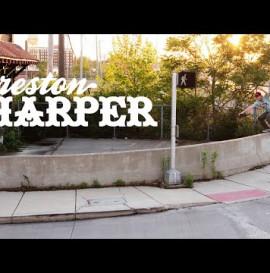 Preston Harper battles a giant curved boardslide